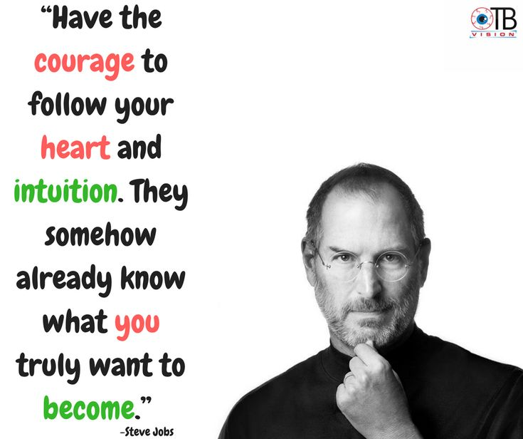 #Steve Jobs #Have the #courage to f#follow your #heart and #intuition..