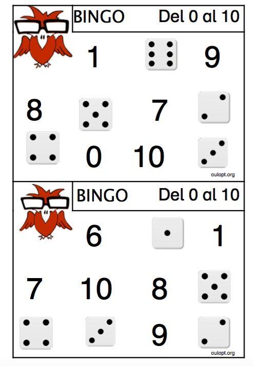 Nuevo juego para trabajar con los más pequeños. Objetivo: reconocer los números y el valor de las caras de los dados. Números hasta el 10 Hay cuatromodelos diferentes, los 4modelos tienen los mismos números así que si lo realizan correctamente los dos pueden ganar el bingo, la dificultad estará en