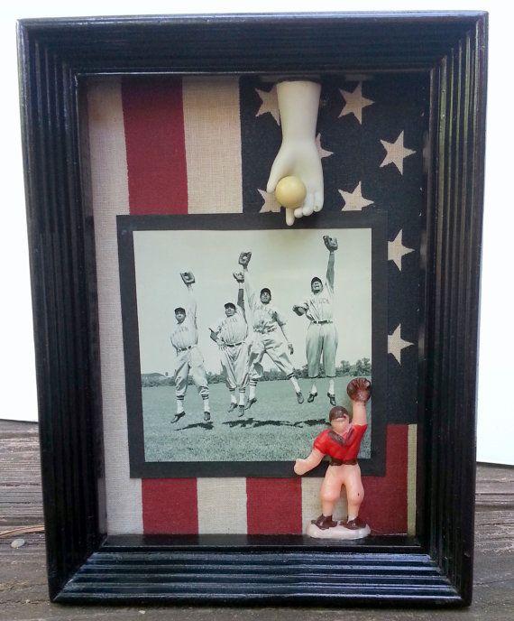 Baseball Shadow Box by applegateArtVintage on Etsy, $30.00