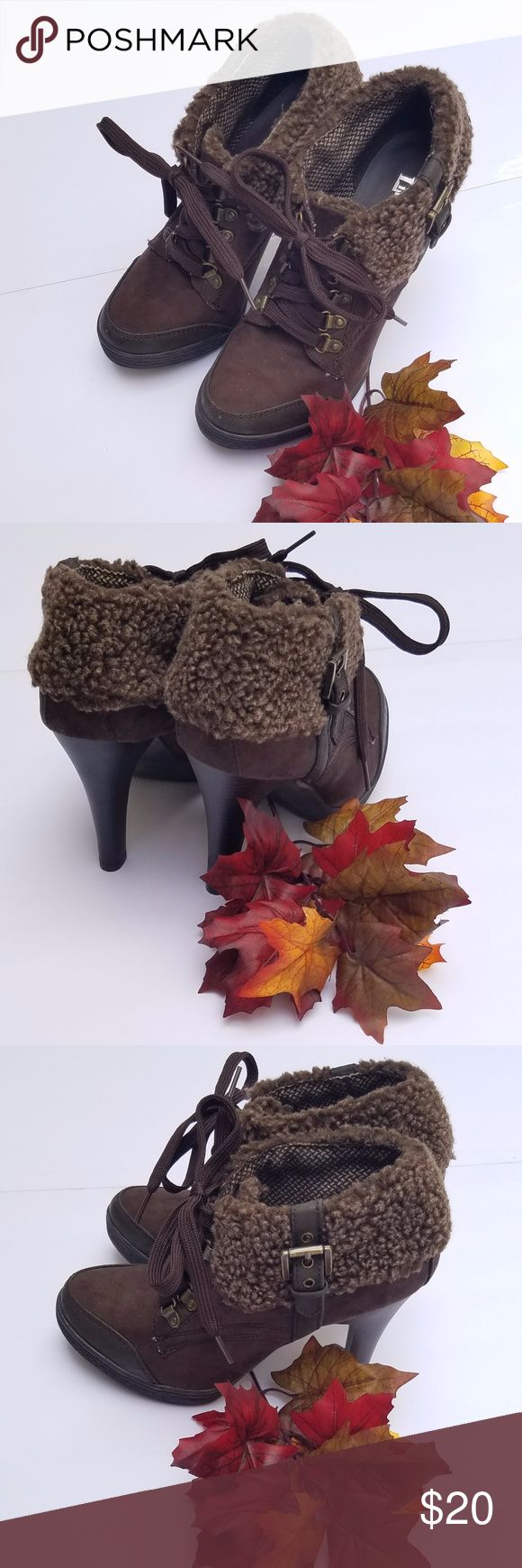 Limelight faux fur ankle boots Limelight faux fur ankle boots, brown suede lace up boot with heel, like new condition without tags. Limelight Shoes Ankle Boots & Booties