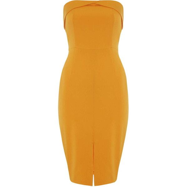 TOPSHOP **Orange Bandeau Midi Dress by Lavish Alice ($74) ❤ liked on Polyvore featuring dresses, form fitting dresses, bandeau tops, midi dress, calf length dresses and orange dress