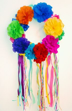 Fiesta Paper Flower Wreath from amols.com #fiesta #paperflowers #mexican