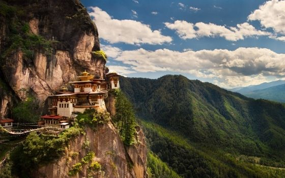 Taktsang Palphug Pro Monastery, Bhutan.   Happiest country?