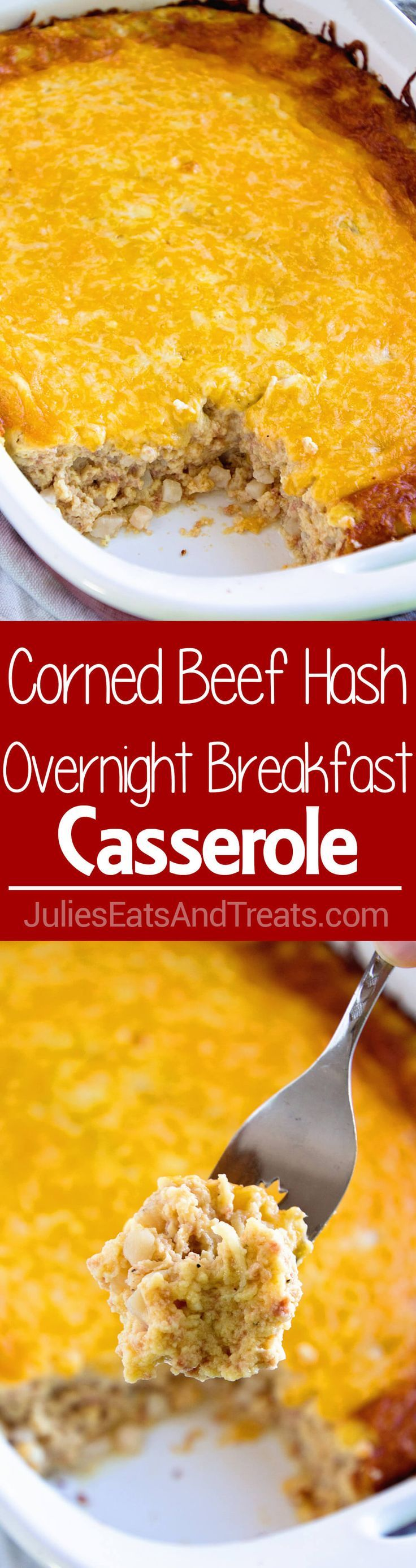 Corned Beef Hash Overnight Breakfast Casserole ~ Delicious, Comforting Overnight…