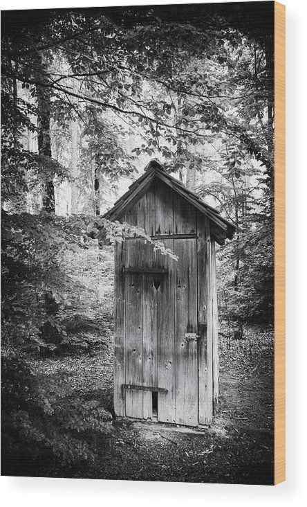 "Outhouse in the forest, black and white wood print. Every image gets printed directly onto a sheet of 3/4"" thick maple wood.  Wood prints are extremely durable and add a rustic feel to any image, enjoy the texture and depth of this artwork in your home. M"