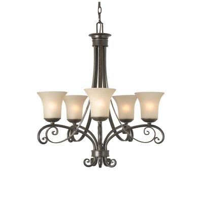 HAMPTON BAY Essex 5 Light Chandelier 26 Inch Aged Black With Tea Stained