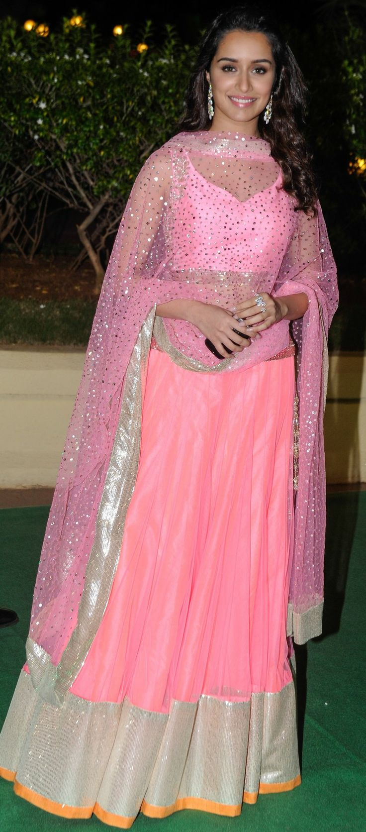 Shradda Kapoor in pink lehenga #lehenga #choli #indian #hp #shaadi #bridal #fashion #style #desi #designer #blouse #wedding #gorgeous #beautiful