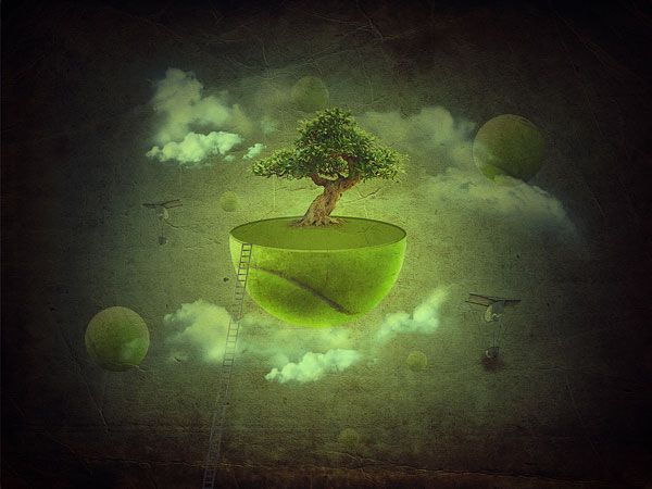 Create a Fantasy Floating Green Planet Scene in Photoshop | PSDFan