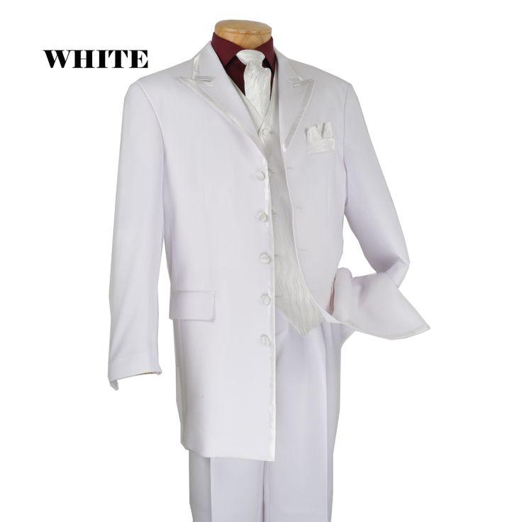 mens white wedding suits | Show details for 5 buttons Black Satin Trim Wedding Suit - White