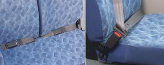 Bus Rosa | FUSO | Cinturones: El asiento de piloto viene equipado con una cinturón de seguridad de 3 puntos