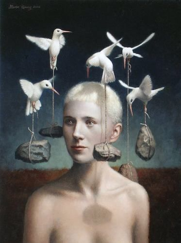 by Steven Kenny Love it!  The birds delivering rocks to the head.