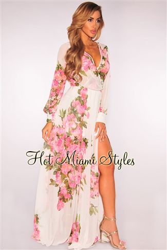 Off White Floral Print Faux Wrap Maxi Dress