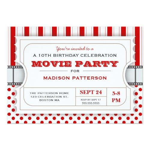 movie birthday invitations movie party birthday party admission ticket red card