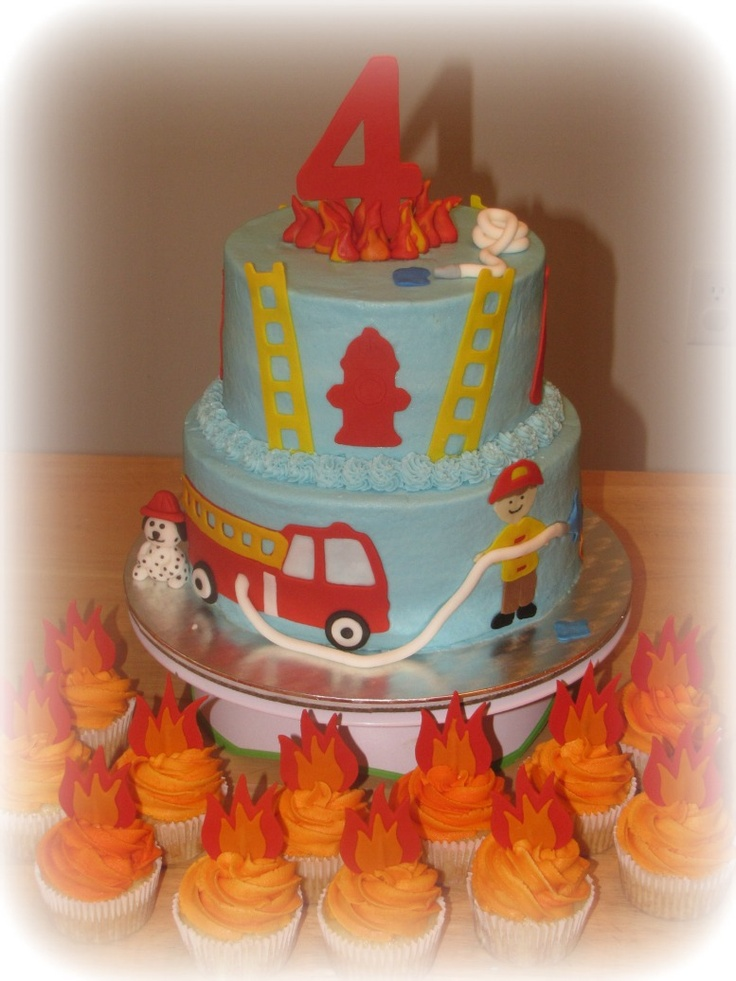 Fire Truck themed cake with Flame Cupcakes - iced in ...