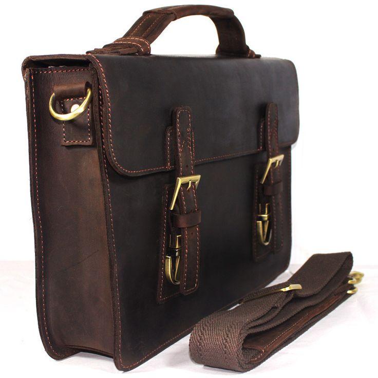 """Vintage Handmade Crazy Horse Leather Briefcase, Messenger, 13"""" MacBook / 13"""" Laptop Bag"""