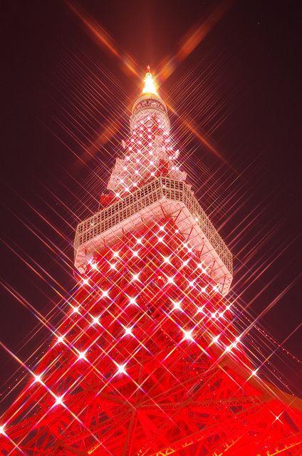Christmas wrapping, Tokyo Tower, Japan
