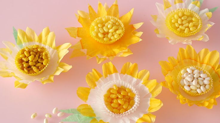 Create daffodil-shaped candy dishes for a fanciful table display using coffee…