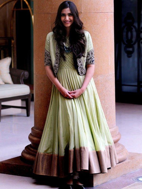 Sonam Kapoor in Green color anarkali suit