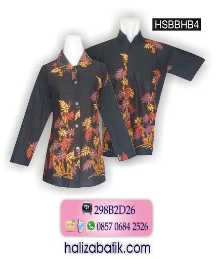 Baju batik sarimbit bahan katun. Batik modern warna dasar hitam. Motif batik bambu. Batik wanita model lengan panjang dengan jahitan dobel/smok di bagian kerah. Batik pria tersedia satu saku depan.