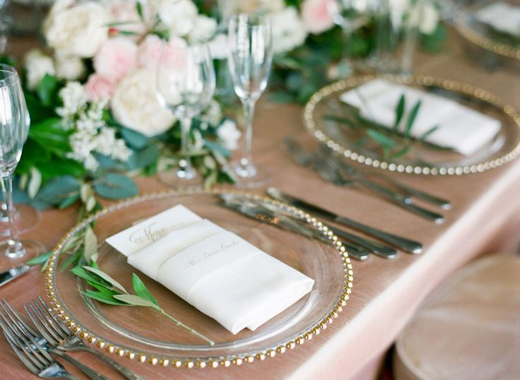elegant tablescape with champagne or blush linens and gold beaded glass charger plates | napkins folded with menus | Photography: Diana McGregor - www.dianamcgregor.com/