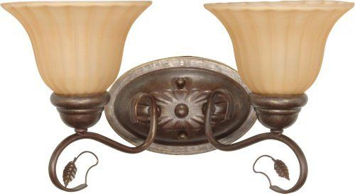 Nuvo 60/1176 Two Light Vanity with Champagne Glass, Sonoma Bronze by Nuvo. $49.18. Sonoma bronze two light vanity with champagne glass. (2) 100-Watt A19 bulbs not included.