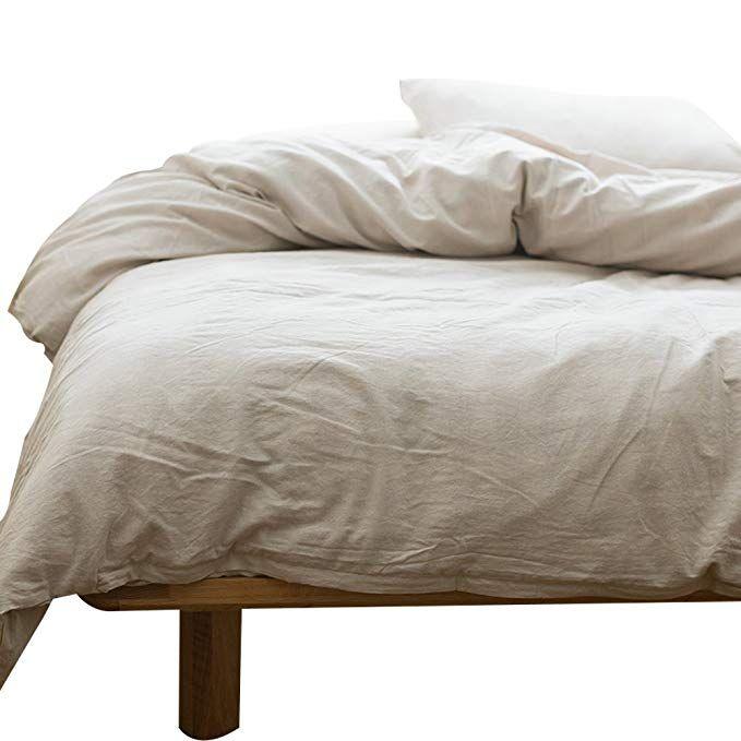 Mkxi Solid Beige Elegant Comforter Quilt Cover Cotton Bedroom Collection Duvet Cover Set Queen Size Duvet Cover Sets Duvet Covers Cotton Duvet Cover