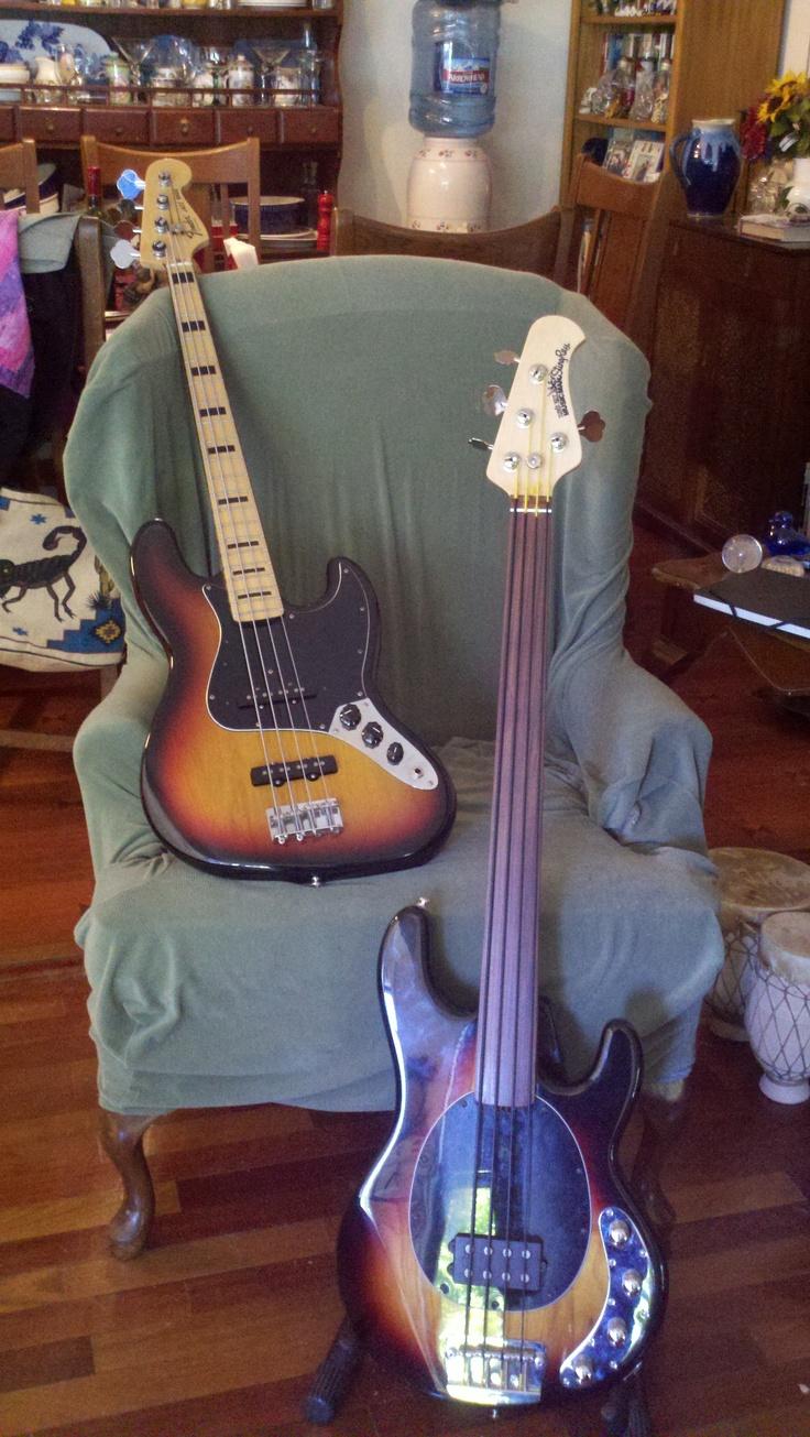 Children of Leo Fender in sunburst.  MIA Deluxe Jazz and EBMM Stingray FL