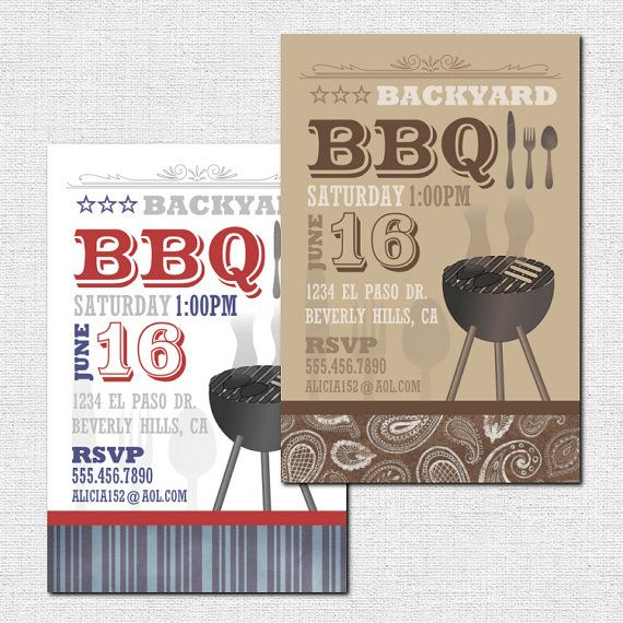 BACKYARD BBQ INVITATIONS printable Summer Party  by nowanorris