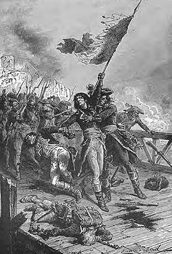 Muiron protégeant Bonaparte au pont d'Arcole (peinture de John Clark Ridpath, 1901).