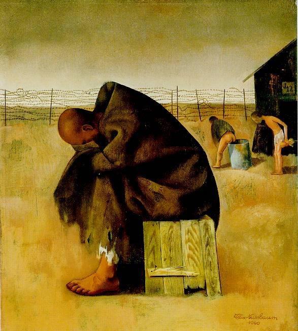 Prisoner, 1940 by Felix Nussbaum. Born in 1904, he died at Auschwitz in 1944