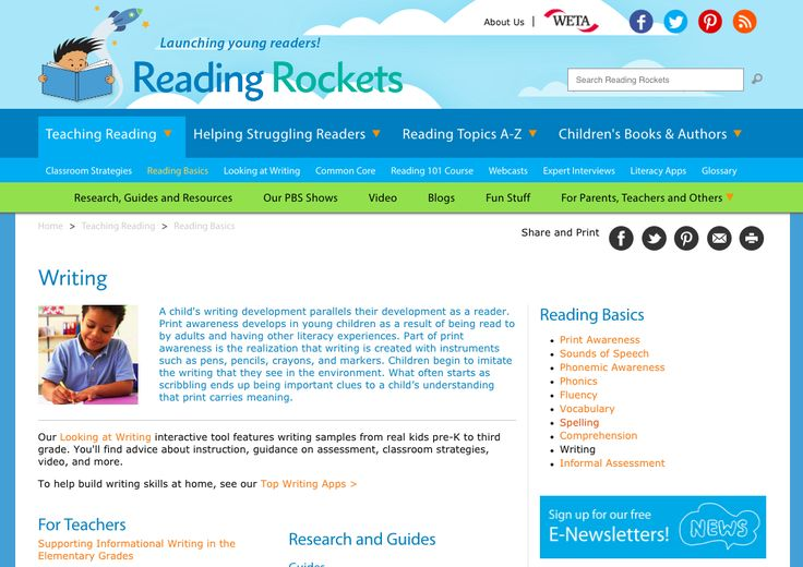 UNDERSTANDING - Reading Rockets is a great resource to support educators in understanding of writing. It provides insights of the importance of writing is providing multiple exposure to practice, modelled writing and reading. A child's writing development parallels their development as a reader (RR).