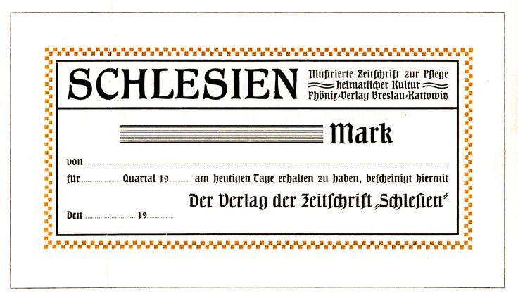 Schlesien, Abo-Quittung der Heimatzeitung 1911 | Redaktionelle Werbung