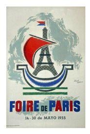 Poster FOIRE DE PARIS 60 x 40 Jean CARLU mai 1955 condition A+