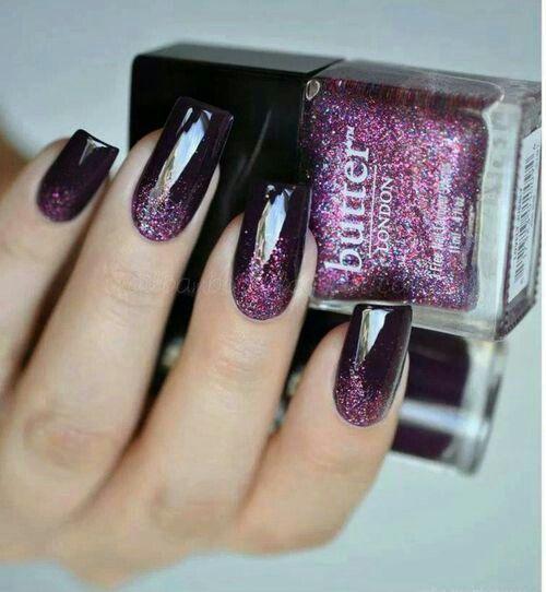 Goth Maleficent black glittery purple nails