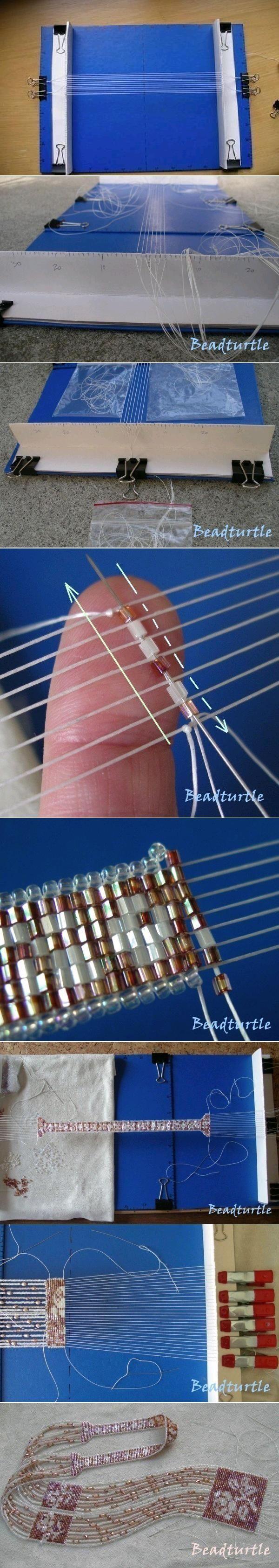 Diese Idee von Beadturtle für einen schnell auf- und abgebauten, leicht umzusetzenden Perlen-Webrahmen ist wirklich mal eine gute!