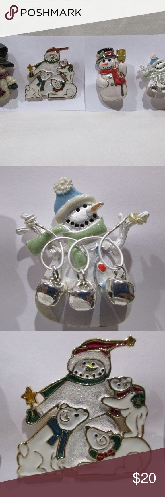 Lot of 4 Assorted Snowman Pin Brooches Lot of 4 - Assorted Snowman or Snowmen Pi...