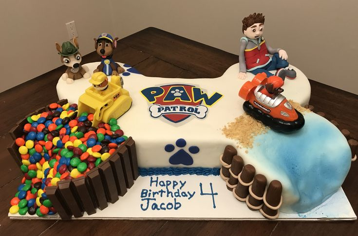 Paw Patrol cake with Tracker! My son loved this cake.