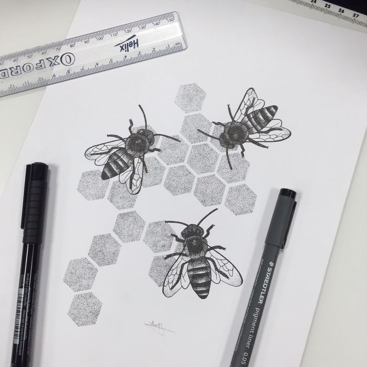 A4 Pointillism drawing of honey bees. B E E happy  // Melissa Malice…