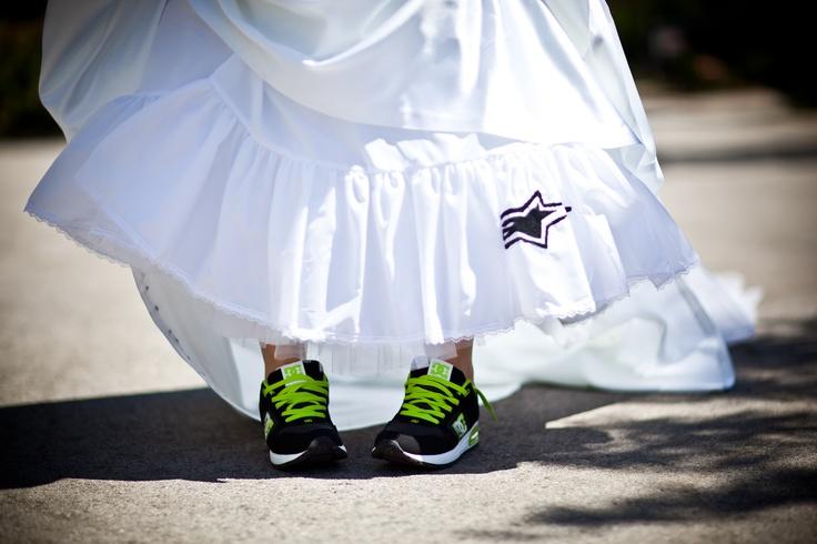 Surprise for the groom! Alpinestar logo hidden under my dress. (triggerhappyphotography.com)