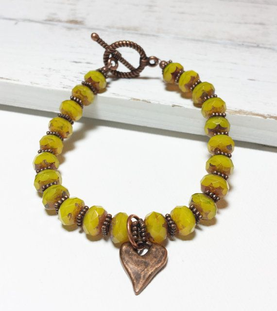 Czech Glass Yellow Bead with Antique Copper Heart by LemonBasket