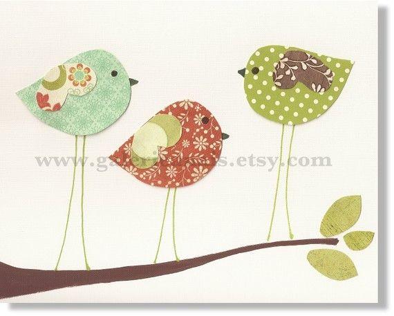 Nursery art prints, baby nursery decor,  children wall art, kids room decor, nursery wall art, Birds, Three Little Birds 8x10 print via Etsy