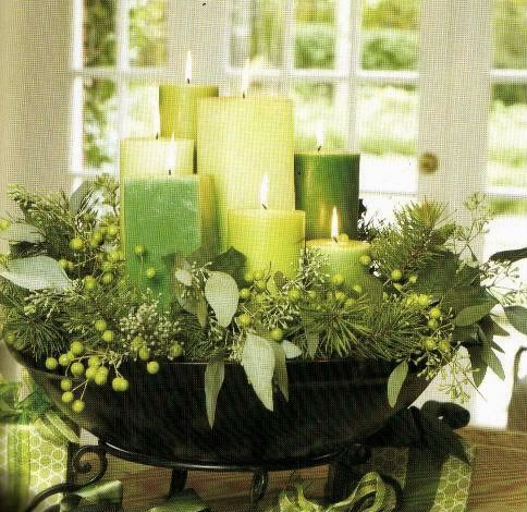 Candle bowl in greens-- love the look! My holiday decor will be silver & green this Christmas.