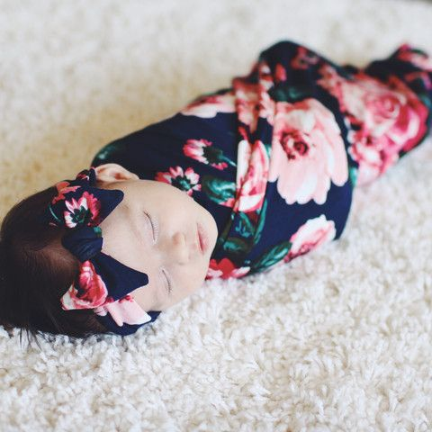 Nightfall Blooms Swaddle Blanket and Headband Set