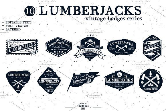 LumberJack badge (EDITABLE TEXT) by inumoccatype on @creativemarket