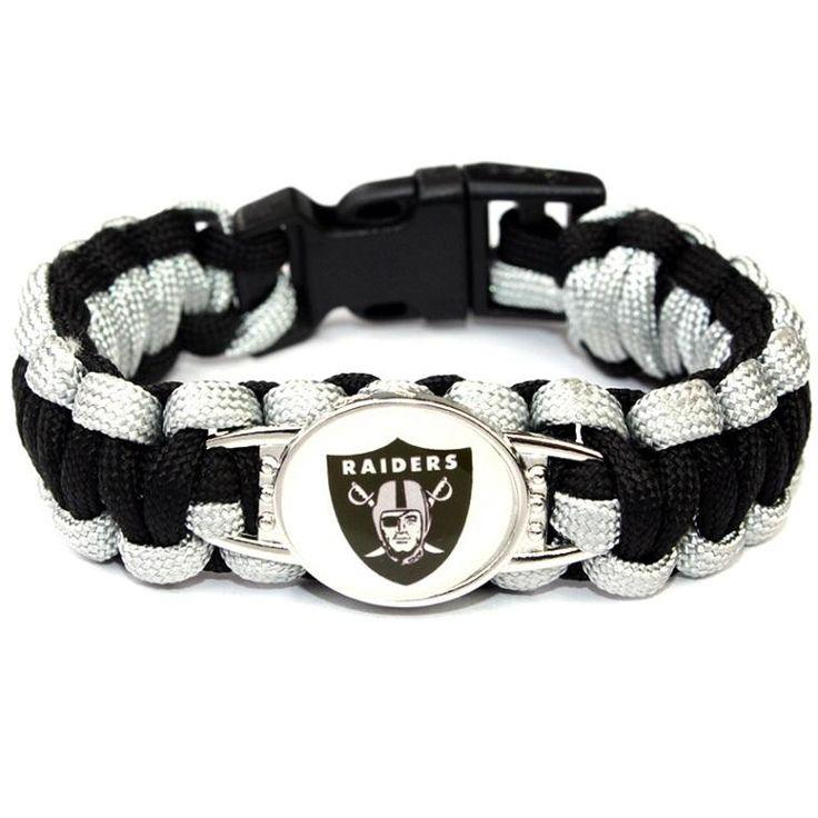 Oakland Raiders Paracord Bracelet USA Football Team Logo Charm Braided Bracelet for Women Men Outdoor Bracelets Bangles Jewelry