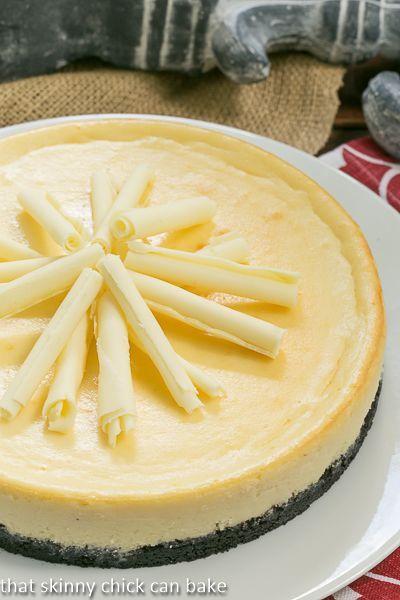 White Chocolate Frangelico Cheesecake| Cheesecake Recipe | That Skinny Chick Can Bake