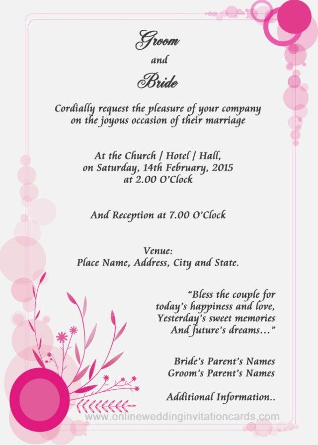 27 Marvelous Photo Of Sample Wedding Invitation Regiosfera Com Marriage Invitation Card Wedding Invitation Format Wedding Invitation Samples