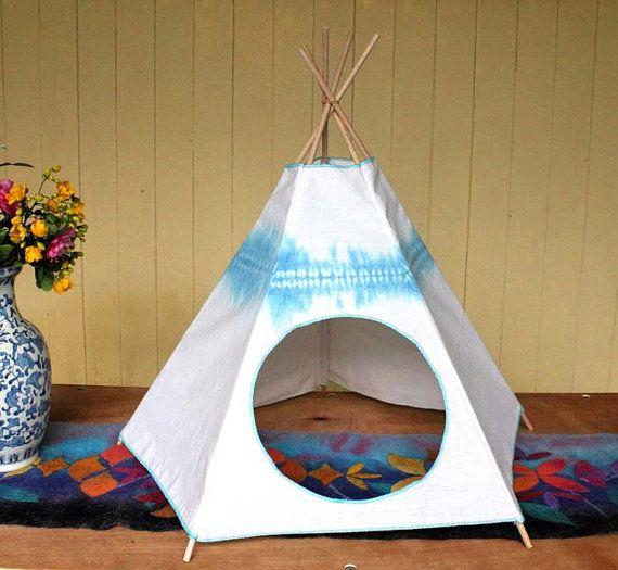 Cat Bed  Cat Teepee  Cat Tent  Mediterranean Blue by Kiteepee, $46.00