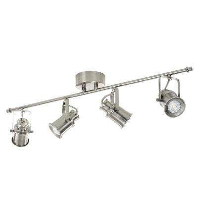 3 ft. 4-Light Brushed Nickel Integrated LED Industrial Fixed Track Lighting Kit Bar