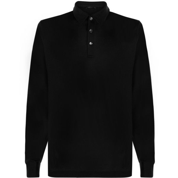 La Perla Silk Way Long-Sleeved Polo Shirt (€300) ❤ liked on Polyvore featuring men's fashion, men's clothing, men's shirts, men's polos, black, mens longsleeve shirts, mens long sleeve silk shirt, mens long sleeve polo shirts, mens long sleeve shirts and mens silk shirt